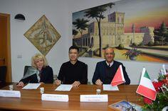 Marco Eugenio Di Giandomenico, Silvia Guaiana and Cheng Yajie at the Academy of Fine arts KANDINSKIJ in Trapani (Dec. 4, 2017)