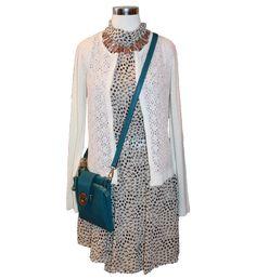 Freeway dress, lace cardi, statement necklace and crossbody purse