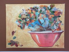 Collage Art Original with painted textured background and a collage of Flowering Cactus and Cat