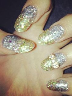 Silver And Gold Sparkle Nails - Nail Designs Picture