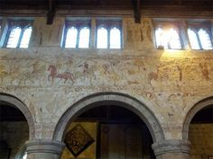 Beautiful medieval frescoes at All Saints' church, Claverley, Shropshire.