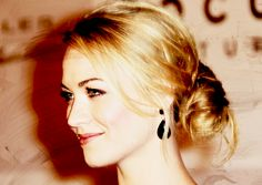 low, loose bun to the side. a la Yvonne Strahovski; one of my faves!
