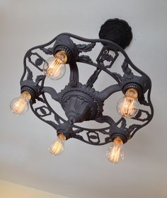 Reserved: Antique Hanging Ceiling Fixture, Heavy Cast Iron, Charcoal Black, 1920's Farmhouse, Rewired