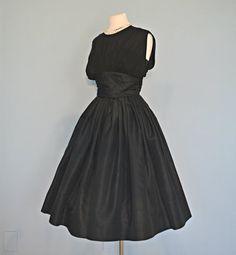 1950s Black Chiffon Party Dress...SUZY PERETTE Midnight Black Chiffon and Satin Party Dress