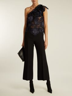 Click here to buy Self-portrait One-shoulder sheer floral-lace top at MATCHESFASHION.COM