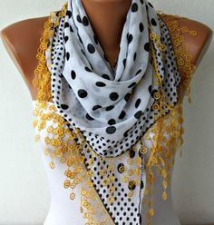 Polka Dot  Scarf -  Cotton Scarves - Headband Necklace Cowl with  Lace Edge - White. $17.00, via Etsy.