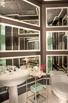 mirrored wall great inexpensive idea