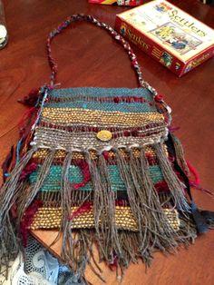 Ashley's Catan Bag  Majacraft Dynamic Heddle Lockspun wool from fiber flock, silk