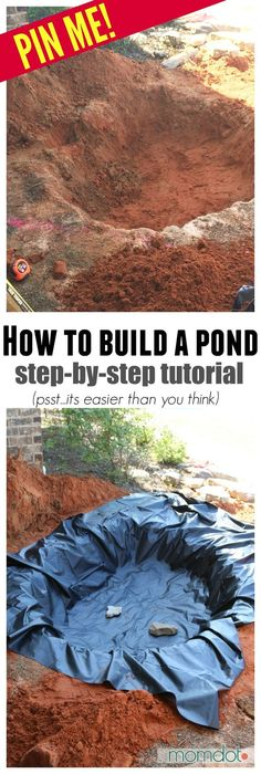How to Build a Pond and Waterfall – perfect for your Front Yard Garden. Step by … How to Build a Pond and Waterfall – perfect for your Front Yard Garden. Step by Step Pond Tutorial to make it easy, everything to purchase, mistakes to avoid and more! Outdoor Ponds, Outdoor Fountains, Building A Pond, Diy Pond, Garden Waterfall, Diy Waterfall, Pond Water Features, Backyard Water Feature, Water Pond