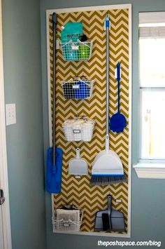 "Organize brooms and mops in the laundry room with a peg board. Love the painted chevron painted over the pegboard along with the ""frame"". Way to class up boring pegboard! Laundry Room Organization, Organization Hacks, Organizing Tips, Organize Cleaning Supplies, Organising, Laundry Decor, Organization Station, Organize Room, Laundry Sorter"