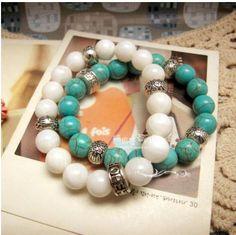 DIY-Idee:  Armbänder aus Türkis und Jade