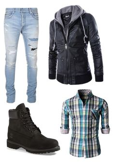"""#43."" by annavellucci on Polyvore featuring Balmain, Timberland, men's fashion and menswear"