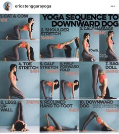 Yoga sequence to downward facing dog