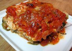 Dukan chicken, mushroom, spinach and zucchini lasagne