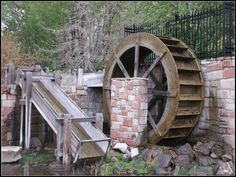 The water-wheel is located in Brigham Young Historic Park, just a couple of blocks east of the Mormon temple in downtown Salt Lake City, Utah, USA.  The park is a memorial to the pioneer religious and civic leader who brought his flock from the eastern states in the mid-1800s, seeking a place where they could practice their faith without scrutiny or conflic.