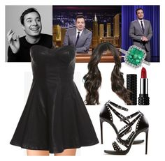 """""""Late Night with Jimmy Fallon Interview.#519"""" by alejandramalagon ❤ liked on Polyvore featuring Forever 21, Bardot, Mark Broumand, Yves Saint Laurent and Kat Von D"""