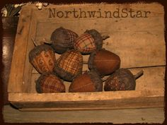 Primitive Acorn  Fall Ornies Bowl Fillers Tucks by northwindstar, $10.50