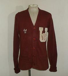 6bb6a9e245b Vintage Mens BRISTOL Cardigan Varisty Letterman UNIVERSITY Sweater USA MADE  44