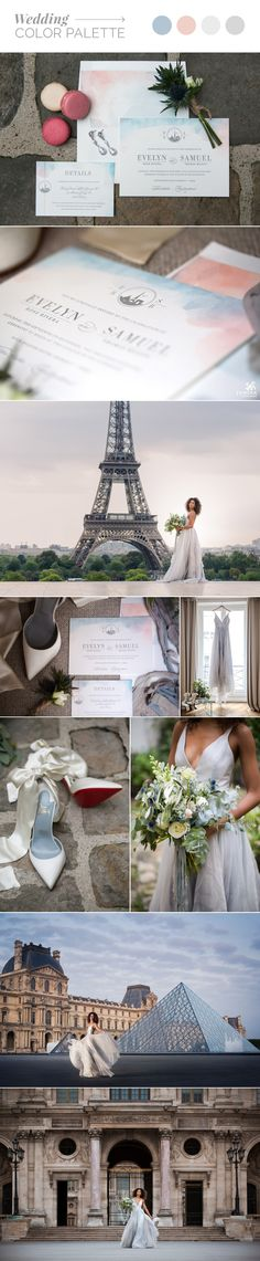This past September, the Femina Ladies traveled to France. It all started with a vision: to create a fashion-centric wedding shoot in one of the most romantic wedding locations in Europe, Paris. Paris Destination, Destination Wedding Invitations, Letterpress Wedding Invitations, Peach Blush, Blue Peach, Watercolor Sunset, Color Tones, Most Romantic, Wedding Locations