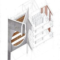 Axonometric section, Exeter Library by Louis Kahn