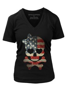 """Women's """"Girl US Flag Skull"""" Vintage Tee by Fifty5 Clothing (Black)"""