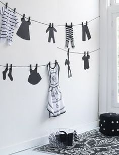 Adorable idea for painting the laundry room...