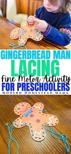 Gingerbread Man Lacing Fine Motor Activity | Modern Homestead Mama Preschool Curriculum, Preschool Themes, Montessori Activities, Toddler Preschool, Toddler Crafts, Kids Crafts, Kids Motor, Fine Motor Activities For Kids, Motor Skills Activities