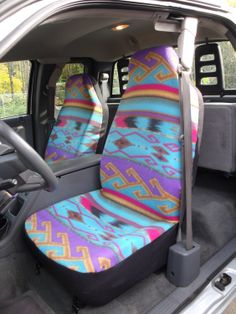 1 Set Of Seat Cover And Steering Wheel Purple Turquoise Tan Aztec Print Custom Made