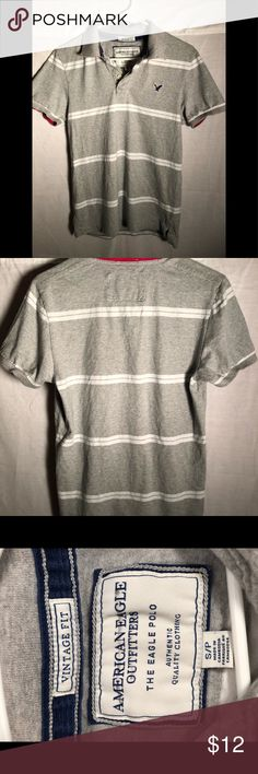 """American Eagle Outfitters Shirt Very nice American Eagle Outfitters """"the Eagle polo"""" Shirt, youth small, gray w/ white stripes, red accent under collar, and inside edge of sleeves,GET DRESSED, w/ Style75! American Eagle Outfitters Shirts & Tops Polos"""
