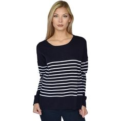 Zoe Stripe - Soft Cotton Sweater (Navy/White)