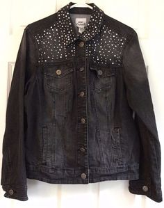 OSO CASUALS Denim Bling Jean Jacket Faded Black Silver Sequins Embellished 16W #OSOCasuals #JeanJacket #Casual