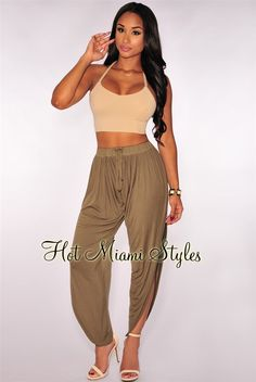 9be81894ba2 Olive Drawstring Slit Leg Harem Pants. Harlem Pants ...