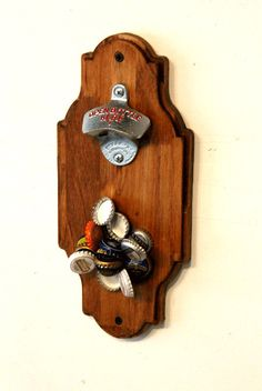 Wall Mount Bottle Opener with Hidden Magnet by BearMtnCarpentryCo