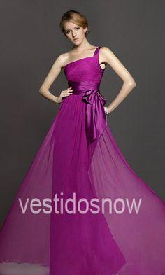 Solo Hombro Flowy Vestido Largo de Fiesta VNS309