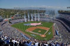 Apr 6, 2015; Los Angeles, CA, USA; General view of a United States flag on the field during the playing of the national anthem before the 2015 MLB opening day game between the San Diego Padres and the Los Angeles Dodgers at Dodger Stadium. Mandatory Credit: Kirby Lee-USA TODAY Sports