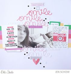 Smile scrapbook layout by Jen Schow for Elle's Studio