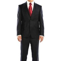Rivelino Men's Navy Chalk Stripe Slim Fit Wool Italian Styled Two Piece Suit, Size: 46L, Blue
