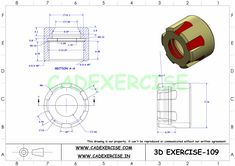 SOLIDWORKS AUTOCAD 3D DRAWINGS PRACTICE BOOKS 100 PDF - 109
