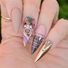 "Timon Nail Art Inspired by Disney's ""The Lion King"" - Trend Haarstyling Männer Feines Haar 2019 Disney Acrylic Nails, Disney Nails, Best Acrylic Nails, White Coffin Nails, Stiletto Nails, Lion King Nails, Lion Nails, Nail Art Dessin, Acrylic Nails Natural"
