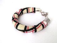 Bead crochet bracelet checked bracelet black beige by Magicbeading, $46.00
