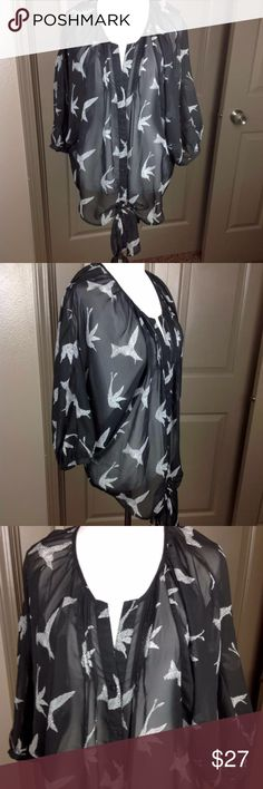 Daniel  Rainn Stitch Fix Top Oversize Small Birds Great Condition Daniel  Rainn Stitch Fix Top Oversize Small Birds Dolman 3/4 Sleeve Tie Front Button Down Polyester 25 inch length 28 inch across bust Daniel Rainn Tops Blouses