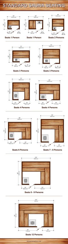 11 Sauna Dimensions, Sizes and Layouts (Illustrated Diagram) - Diagram setting out 11 different sauna dimensions (layouts) and sizes for different number of peopl - Saunas, Diy Sauna, Diy Swimming Pool, Natural Swimming Pools, Natural Pools, Home Spa Room, Spa Rooms, Homemade Sauna, Building A Sauna
