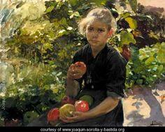 Nina Comiendo Manzanas (Young Girl Eating Apples) - Joaquin Sorolla y Bastida - www.joaquin-sorolla-y-bastida.org