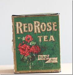 Vintage Tea Tins   Canadian vintage red rose tea tin (front)
