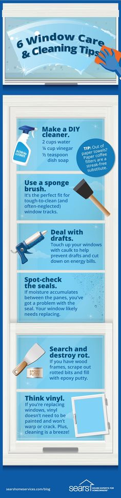 View our window maintenance infographic for quick and easy tips on caulking, sealing and cleaning your home windows. Window Cleaning Tips, Window Cleaning Services, House Cleaning Tips, Deep Cleaning, Spring Cleaning, Cleaning Recipes, Cleaning Hacks, Professional Cleaning, Diy Cleaners
