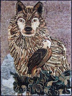 Stone Mosaic Wild Animals - Wolf Mosaic - Mosaic Patterns - Mosaic Designs - Handmade Mosaic Art - Mosaic Artwork | #Mozaico