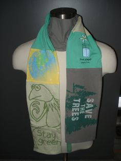 Earth Day Upcycled TShirt Scarf by SewcialStudies101 on Etsy, $22.50