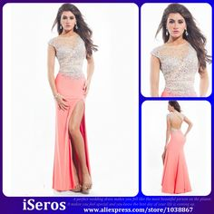 Customize 2015 Fashion Pink With Crystals Beads Cap Sleeves Open Back Long Evening Dresses Prom Dresses Vestidos De Festa PD29
