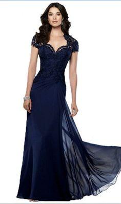 2016 New Design Vestido Sereia Navy Blue Lace Mother Of The Bride Dresses Short Sleeve Dress Party Elegant Long Evening Dress