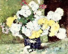 Stefan Luchian-Crizanteme in vas albastru Romantic Paintings, Thing 1, Art Nouveau, Modern Art, Art Gallery, Fine Art, Painters, Drawings, 1 Februarie